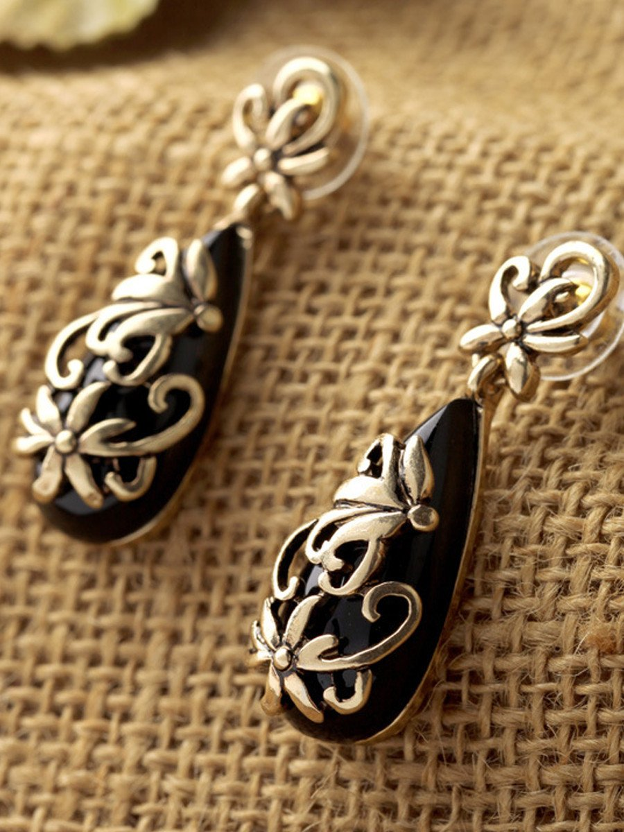 Gold Plated  Carving Flower Ethnic Drop Earrings