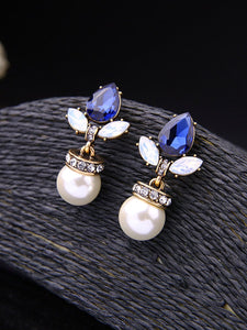 Pearl Pendant Drop Crystal Earrings