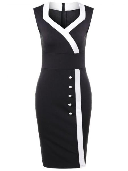 Classic Elegant Color Block Bodycon Dress