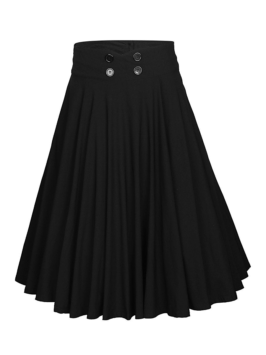 Decorative Button Solid Flared Midi Skirt In Black
