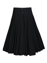 Load image into Gallery viewer, Decorative Button Solid Flared Midi Skirt In Black