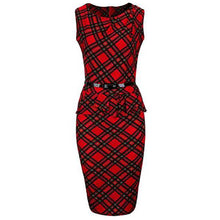 Load image into Gallery viewer, Classic Plaid Ruffle Trim Round Neck Bodycon Dress