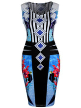 Load image into Gallery viewer, Unique Round Neck Colorful Printed Bodycon Dress