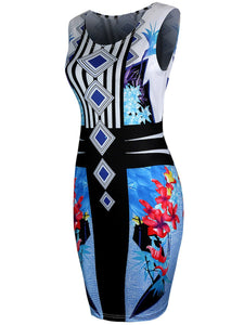 Unique Round Neck Colorful Printed Bodycon Dress