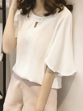 Load image into Gallery viewer, Round Neck  Keyhole  Plain  Cape Sleeve Blouse