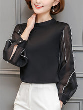 Load image into Gallery viewer, Chic Band Collar  Contrast Stitching  Hollow Out Blouse