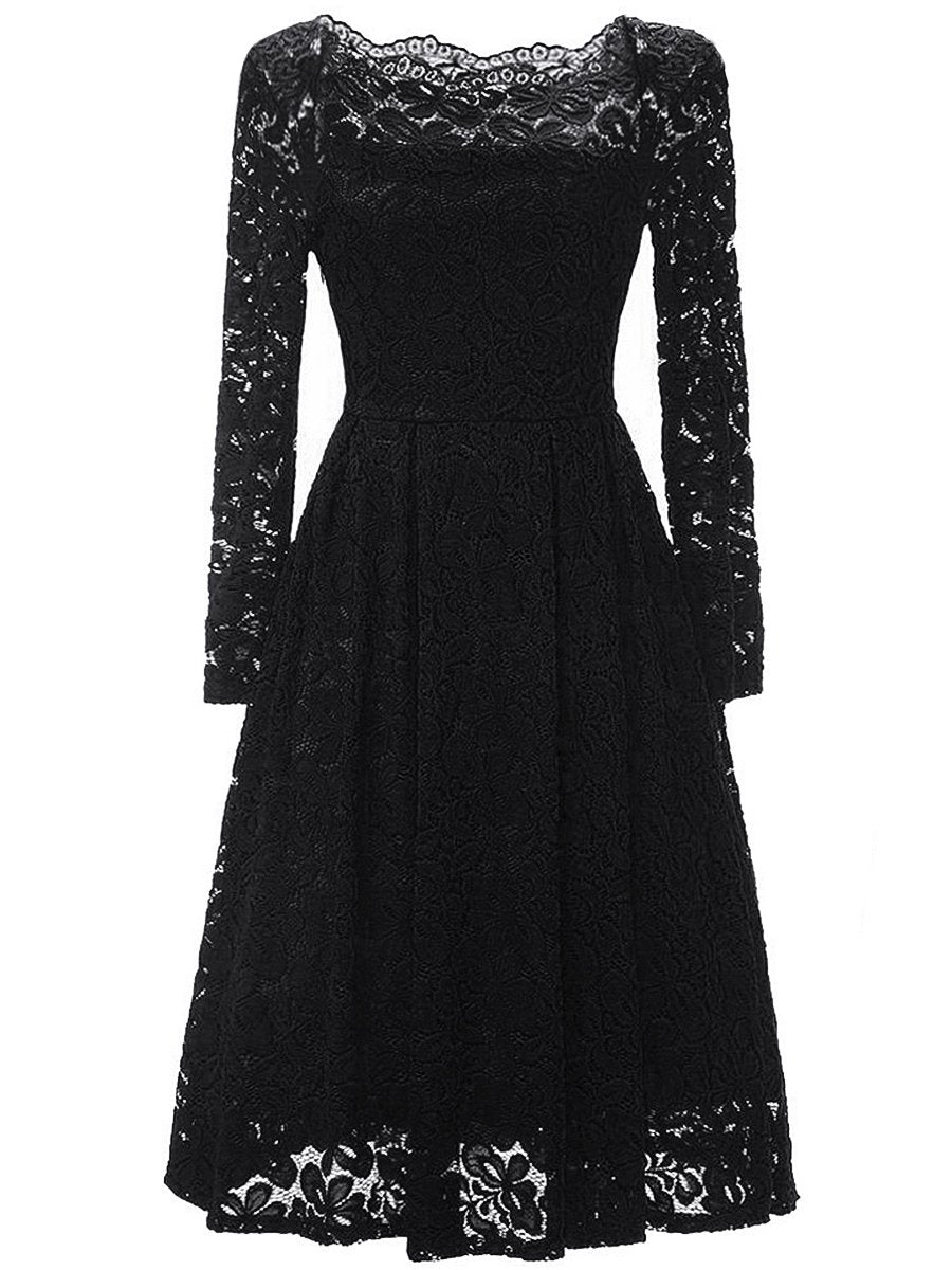 Off Shoulder  Lace  Skater Dress