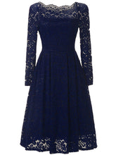 Load image into Gallery viewer, Off Shoulder  Lace  Skater Dress