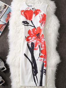 Chic Round Neck  Slit  Floral Sleeveless Bodycon Dress