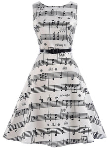 Unique Stave Printed Round Neck Belt Skater Dress