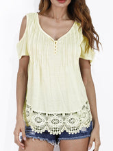 Load image into Gallery viewer, Open Shoulder  Decorative Lace  Plain Short Sleeve T-Shirt