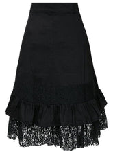 Load image into Gallery viewer, Decorative Lace Flounce  Decorative Hardware  Plain  Flared Midi Skirt