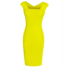 Load image into Gallery viewer, Square Neck  Plain Bodycon Dress