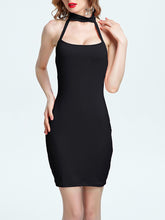 Load image into Gallery viewer, Halter  Backless  Plain Bodycon Dress