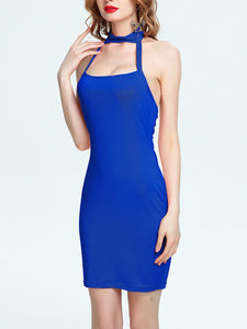 Halter  Backless  Plain Bodycon Dress