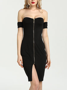 Off Shoulder Slit Zips Plain Bodycon Dress