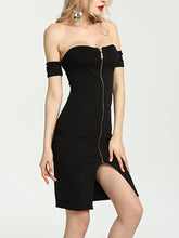 Load image into Gallery viewer, Off Shoulder Slit Zips Plain Bodycon Dress