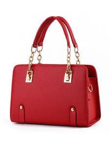 Gold Chain Handle Pu Handbag