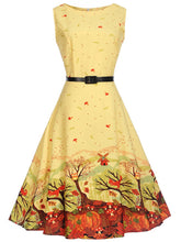 Load image into Gallery viewer, Lovely Printed Round Neck Belt Midi Skater Dress