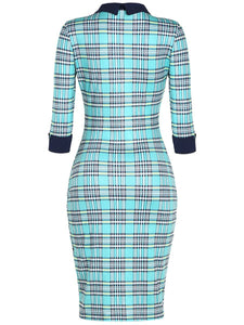 Plaid Doll Collar Cuffed Sleeve Bodycon Dress
