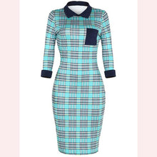 Load image into Gallery viewer, Plaid Doll Collar Cuffed Sleeve Bodycon Dress
