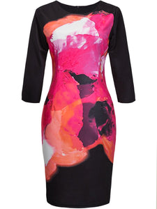 Round Neck  Abstract Print  Blend Bodycon Dress