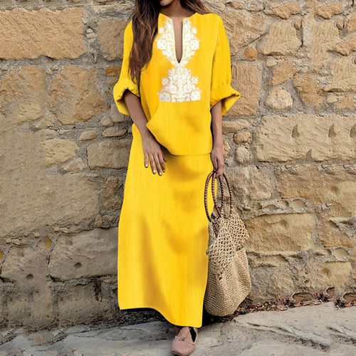 Cotton/Line Casual V-Neck Vintage Shift Maxi Dress
