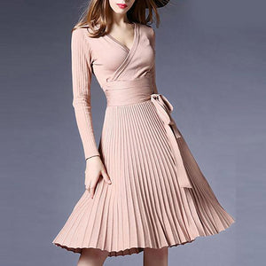 8989ffc90da Sexy V-Neck Solid Pleated Knitted Skater Dress