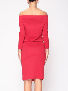 Dramatic Slash Neck Bodycon Dress