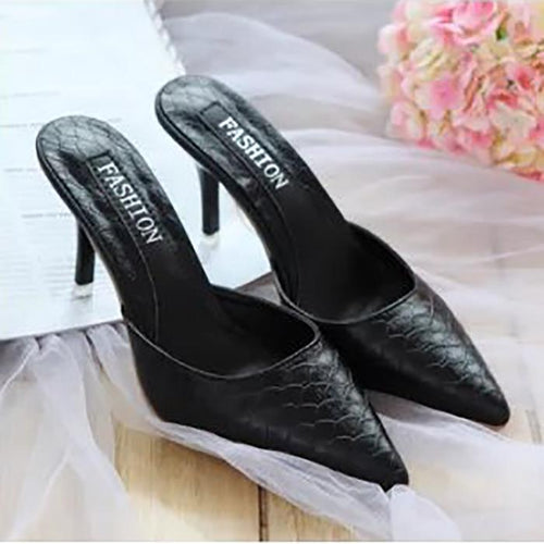 Fashion Pure Color Slim Heel Pointed Mueller Shoes