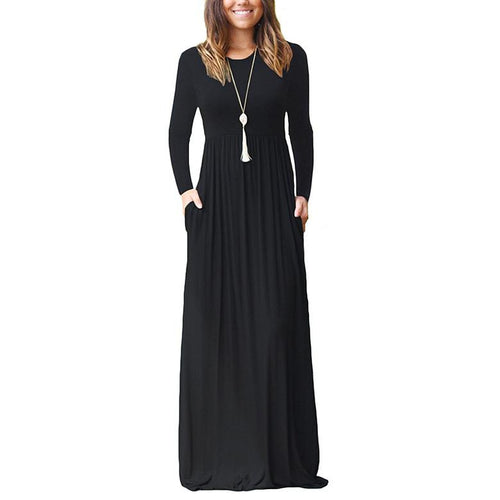 Long Sleeve Loose Plain Maxi Casual Long Dresses With Pockets