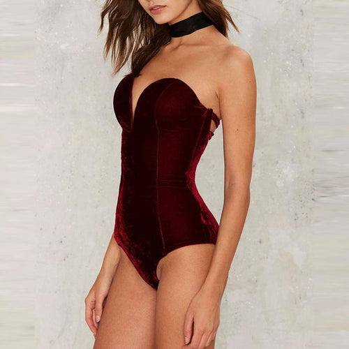 Sexy Pure Color Strapless Backless Bodysuit