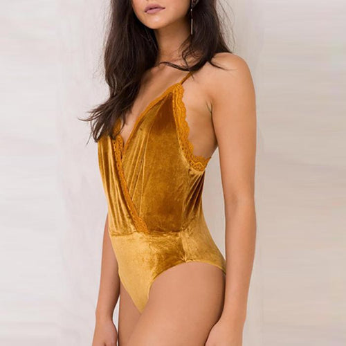 Sexy Pure Color Strap Backless Velvet Bodysuit