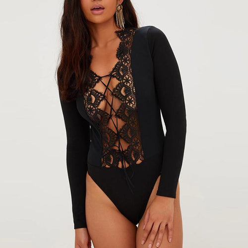 Sexy Pure Color Lace Hollow Long-Sleeved Bodysuit