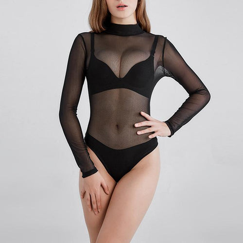 Sexy Pure Color Turtleneck Perspective Long-Sleeved Bodysuit