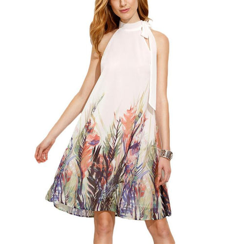 Halter Tie Printing Dress