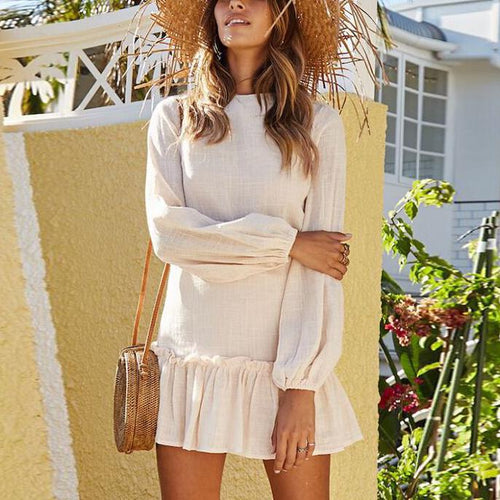 Ruffled Holiday Long Sleeve Dress