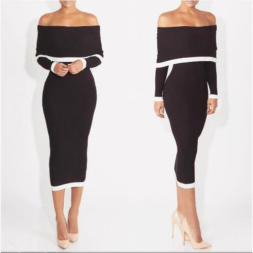 Elegant Black And White Contrast Color Bodycon Dress