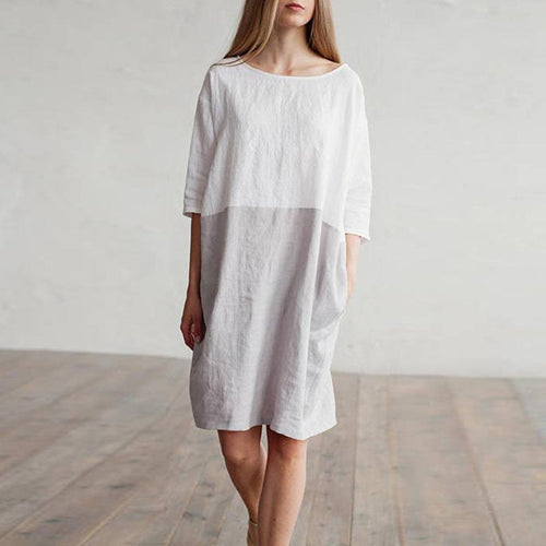 Solid Color Imitation Cotton And Linen Stitching Dress Round Neck Cropped Sleeve Skirt