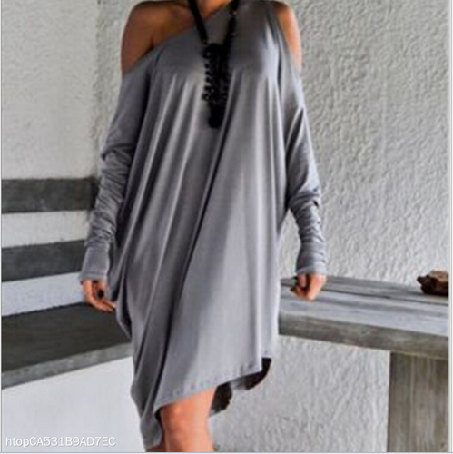 Slanted Shoulder Bat Sleeve Irregular Dress