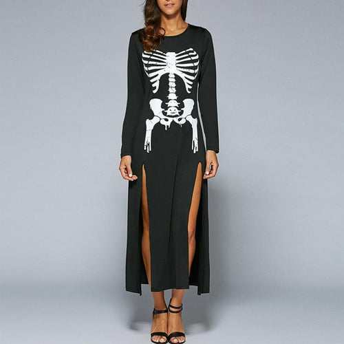 657c4c962bfe Long Sleeve Halloween Skeleton Printed Maxi Dress