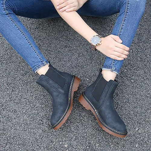 Round Head Plus Cotton Thick Heel Ankle Boots