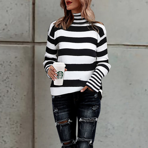 High Collar Stripe Sweater Long Sleeve Knitted Coat