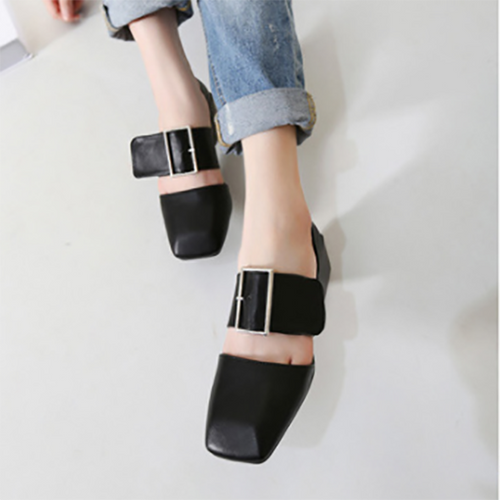 Thick Heel Buckle With Retro Toe Women's Shoes