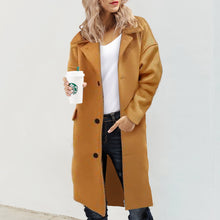 Load image into Gallery viewer, Lapel Woolen Coat Winter Warm Long Solid Color Cardigan Outwear
