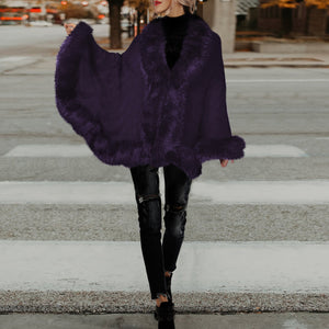 Knit Cardigan Cape Fur Shawl