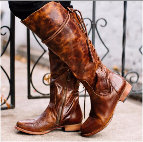 Fashion Low Heel Square Heel Blinding Long Boots