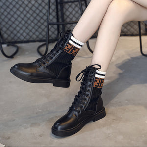 Leather Knitted Socks Ankle Boots Black Footwear