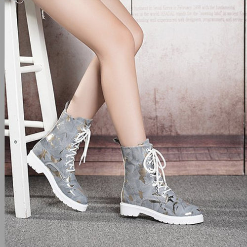 Multipurpose Thick-Heel Printed Mid-Tube Martin Boots