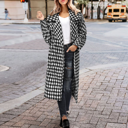 Black And White Plaid Coat Long Thick Retro Woolen Outwear